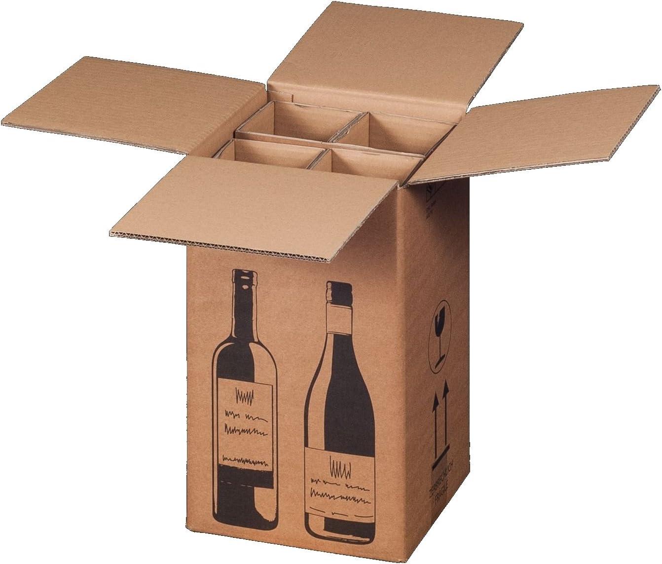 10 x Cajas de Cartón de botellas de vino de cartón para 4 botellas de vino (PTZ Certificado – DHL/UPS): Amazon.es: Oficina y papelería