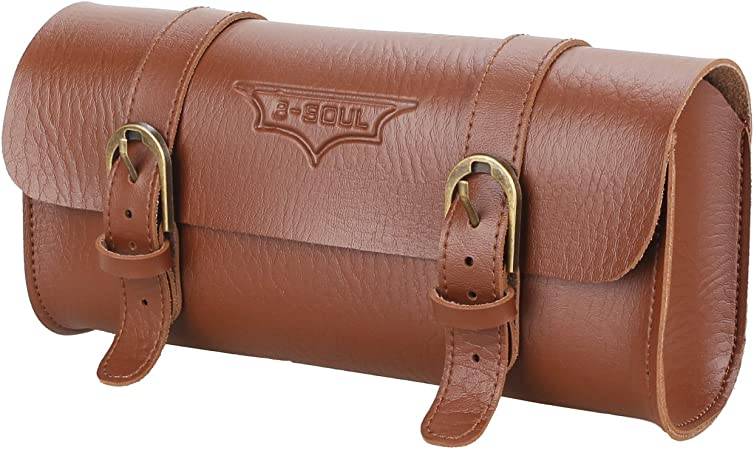 Bicycle handlebar bag; Pure Leather material;Size Approx 22.2cm X 9.8 cm X 6cm