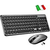 TOPELEK Tastiera e Mouse Wireless PC, Portabile Tastiera Wireless PC Anti-Scivolo per Windows/Mac, Tastiera QWERTY Italiano e Mouse Silenzioso Simmetrico 3 DPI