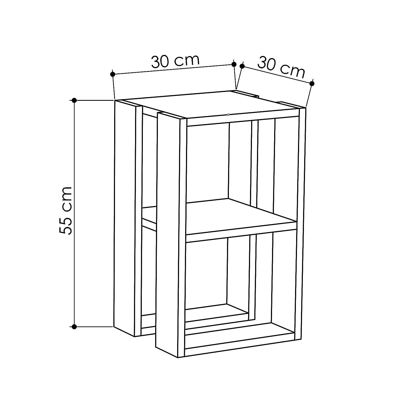 Hocuspicus Comodino Moderno per Camera da Letto Facile da Montare e Trasparente Portalampada tavolino da caff/è 30 x 30 x 55 cm Bianco