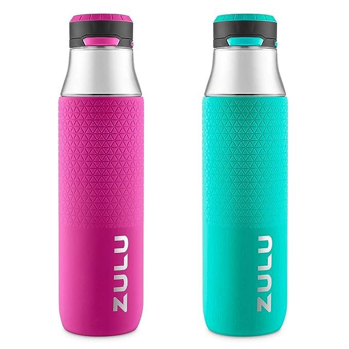 Amazon.com : ZULU Studio Tritan Water Bottles with Silicone Grip, Leak Proof Flip Lid, BPA Free, Tasteless & Odorless, 32oz Grey/Violet Ice -2 Pack : Sports ...