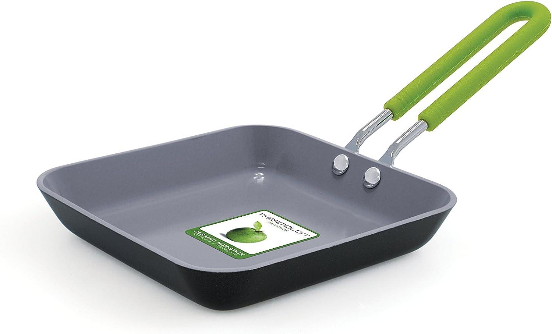 GreenPan Mini Ceramic Non-Stick Square Egg Pan, Grey - CW001360-015