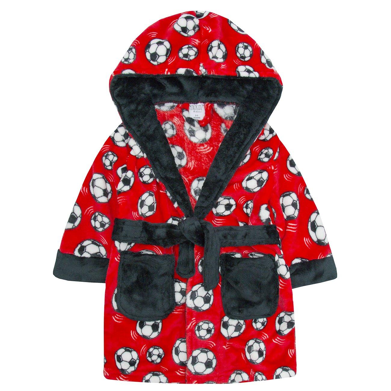 MiniKidz Infant Boys Plush Fleece Football Dressing Gown