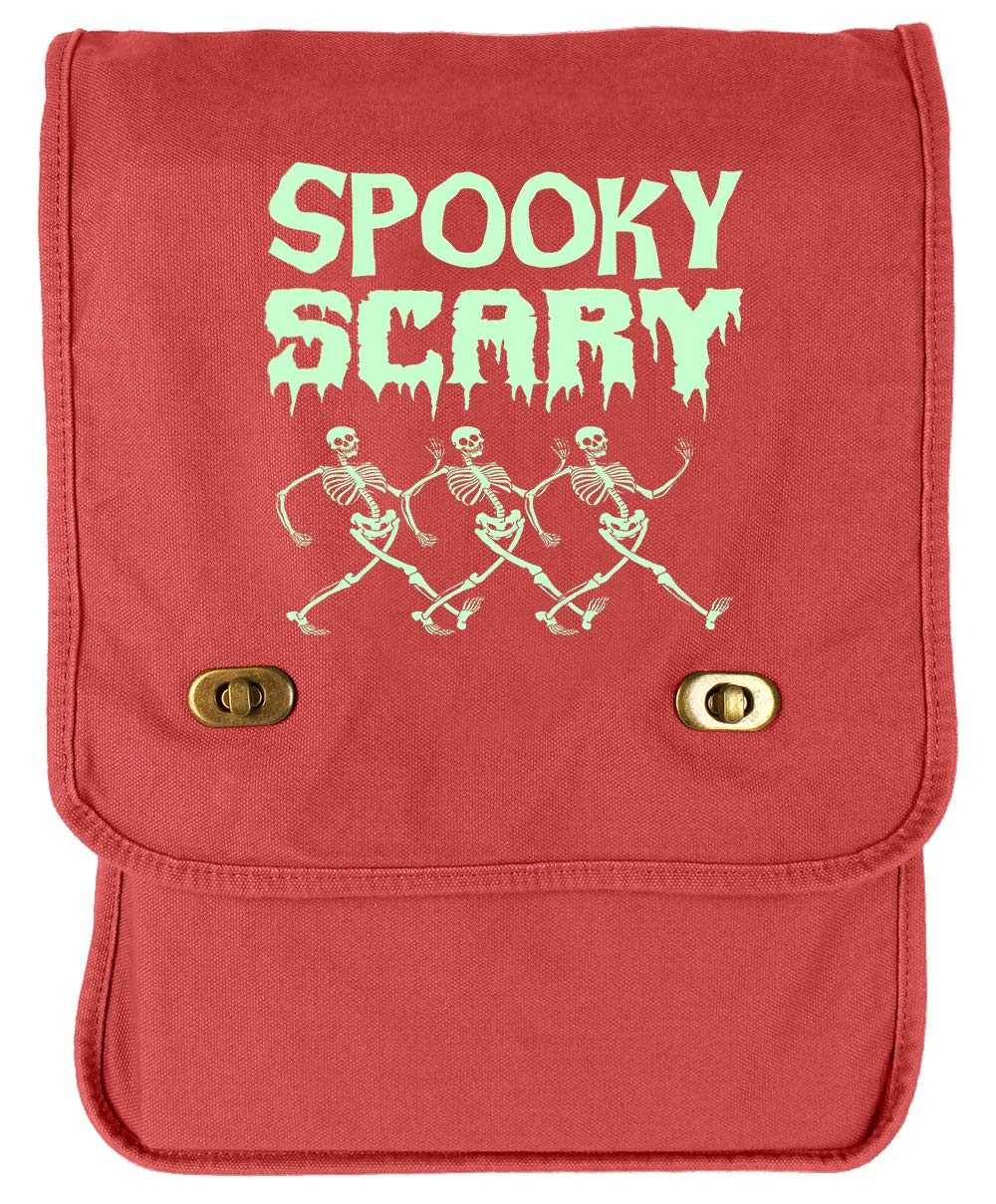 Tenacitee Spooky Scary Skeletons Red Brushed Canvas Messenger Bag