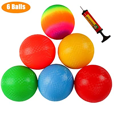 Ogrmar 6PCS 8.5 Inch Playground Balls Dodgeballs with 1 Hand Pump for Kids and Adults Dodge Ball, Kickball, Handball, Camps, Picnic and Schoolyard Games : Sports & Outdoors