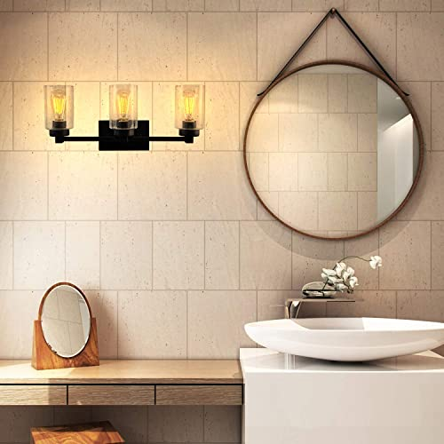 3-Light Industrial Bathroom Vanity Light Black Farmhouse Wall Sconce Clear Glass Shades