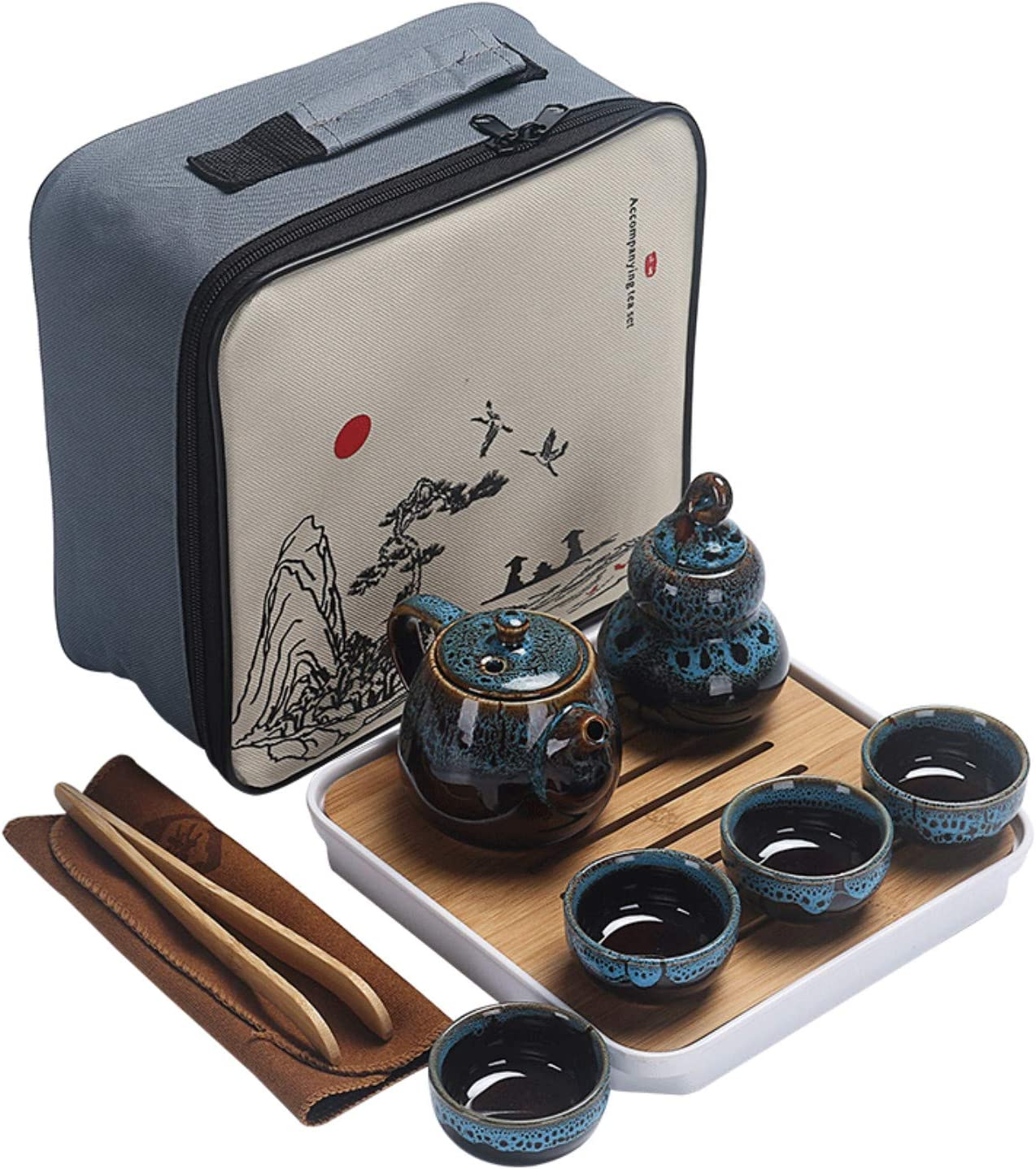 Ceramic Kungfu Tea Set,Portable Travel Tea Set with Teapot,Teacups,Tea Canister,Tea Tray and Travel Bag,Suitable for Travel, Home,Outdoor and Office