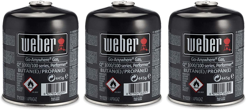 Weber Color Negro Pack de 3 Cartuchos de Gas