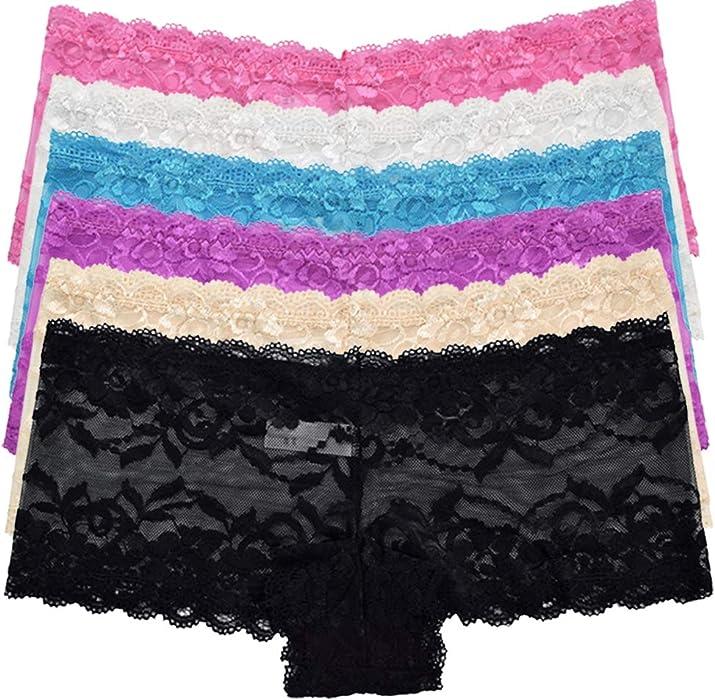 f8c8bfda1e7e80 morecare Women's Sexy Lace Underwear Pure Briefs Stretch Knickers Pack of 6  UK10: Amazon.co.uk: Clothing