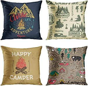 Emvency Set of 4 Throw Pillow Covers Camp Emblem with Mountain Campfire and Forest Camping Adventure Vintage Decorative Pillow Cases Home Decor Square 16x16 Inches Pillowcases