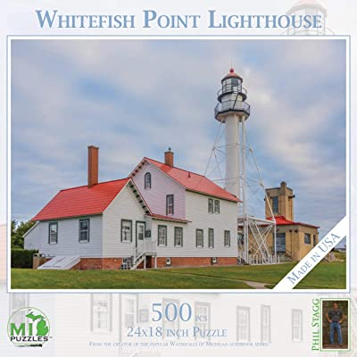 Whitefish Point Lighthouse - 500 Piece MI Puzzles Jigsaw Puzzle: Toys & Games