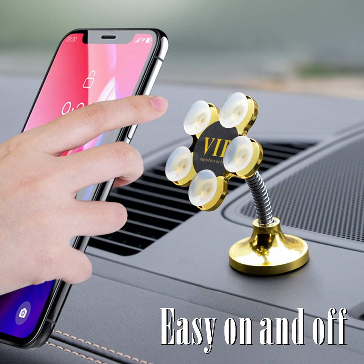 Iron Black- Car KAVANHON Silicone Sucker Holder for Phone Be a Universal Cell Phone Mount Using in Car Photo or Small Piece Picture with Smooth Surface