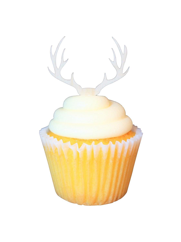 Amazon.com: Wooden Deer Antler Cupcake Topper (24): Kitchen & Dining