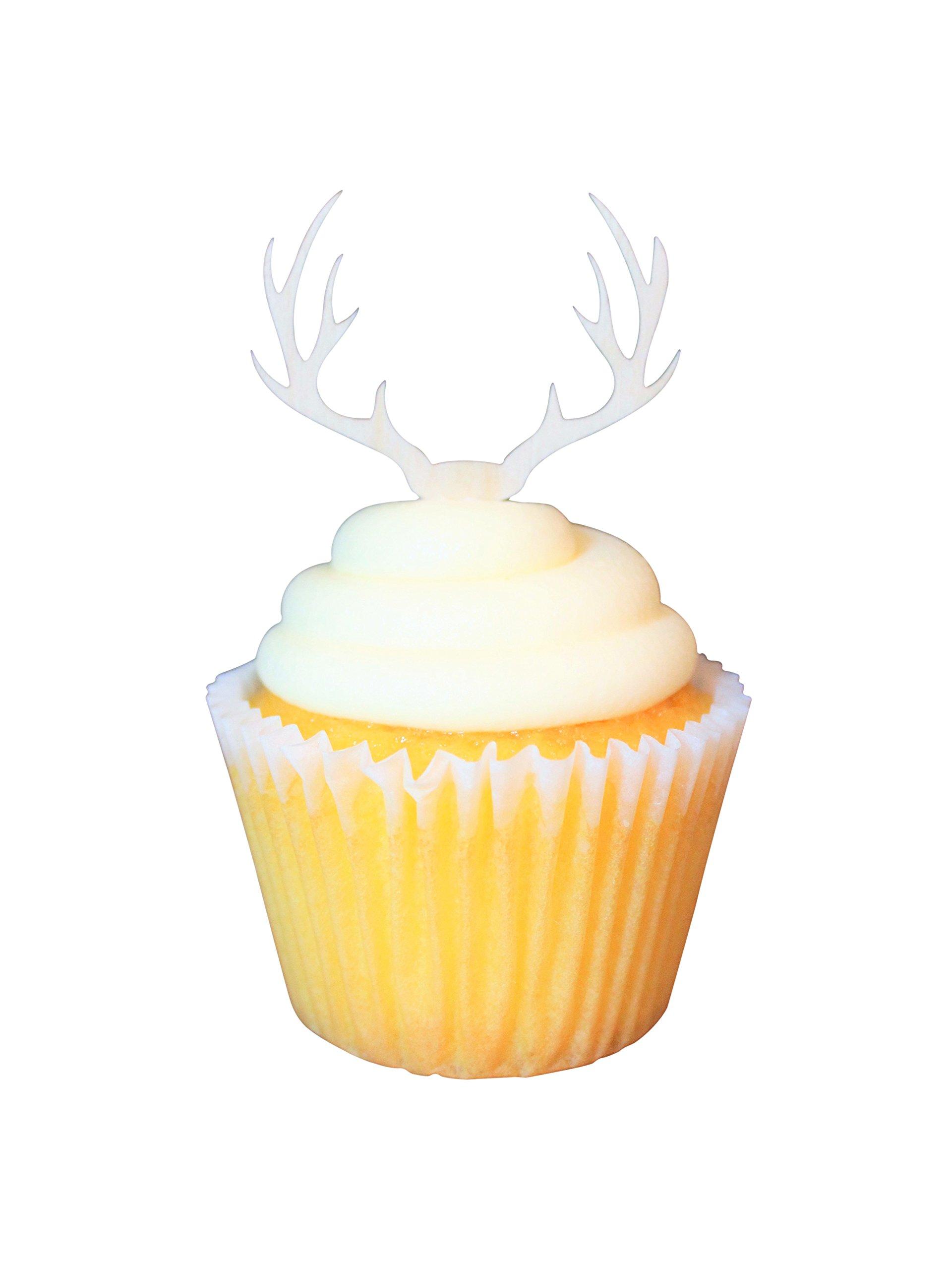 Wooden Deer Antler Cupcake Topper (24)