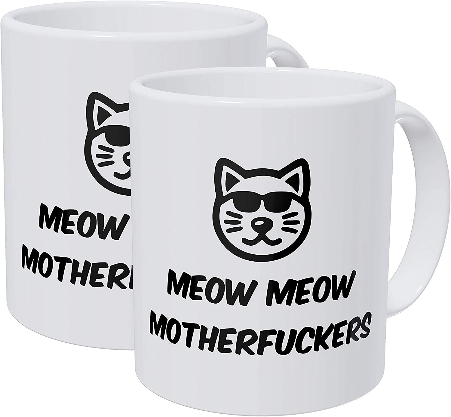 Willcallyou Pack of 2 Meow Meow Cool Cat Face Glasses 11 Ounces Funny White Coffee Mug