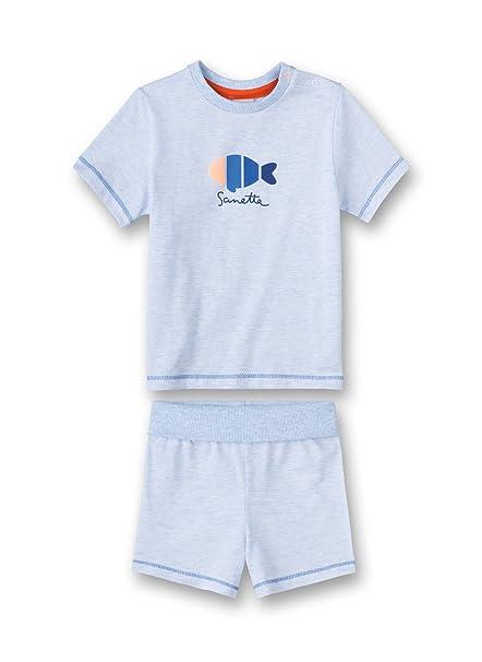 Sanetta Pyjama Short, Conjuntos de Pijama Unisex bebé, Azul (Bleu Melange 50240.0)