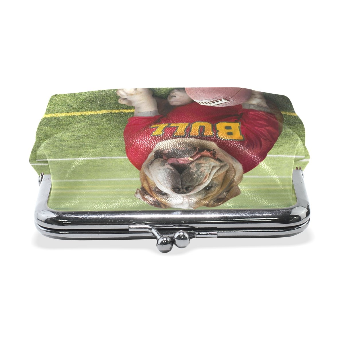 Sunlome Womens Clasp Coin Purse Cards Case Bull Dog American Football Small Wallet Buckle Clutch
