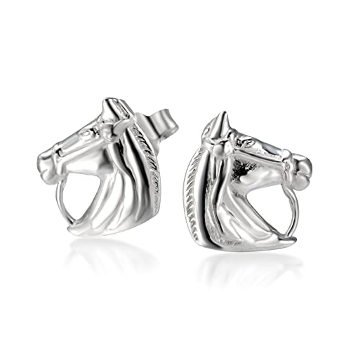 df34a91fa Amazon.com: 925 Sterling Silver Horse Symbol of success Stud Earrings:  Jewelry