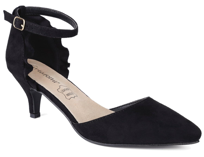 bb0c2166049 MaxMuxun Womens Ankle Strap Kitten Heel Dress Pumps Court Shoes   Amazon.co.uk  Shoes   Bags