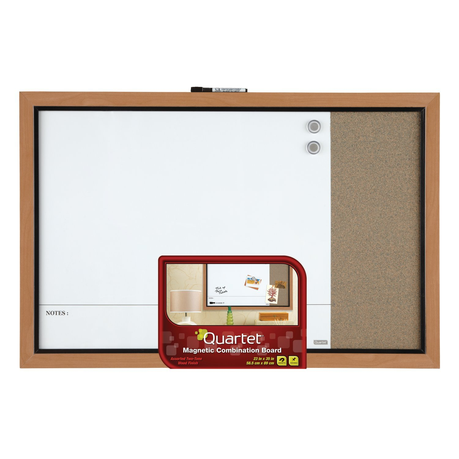 Quartet Home Decor Magnetic Combination Board, 23'' x 35'', Dry-Erase & Cork, Two-Tone Frame (48117A)