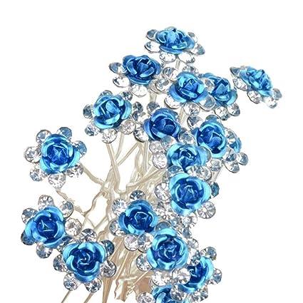 Flores Brillantes Horquillas horquillas perlas Cabello joyas para novia boda 442fe4b85200