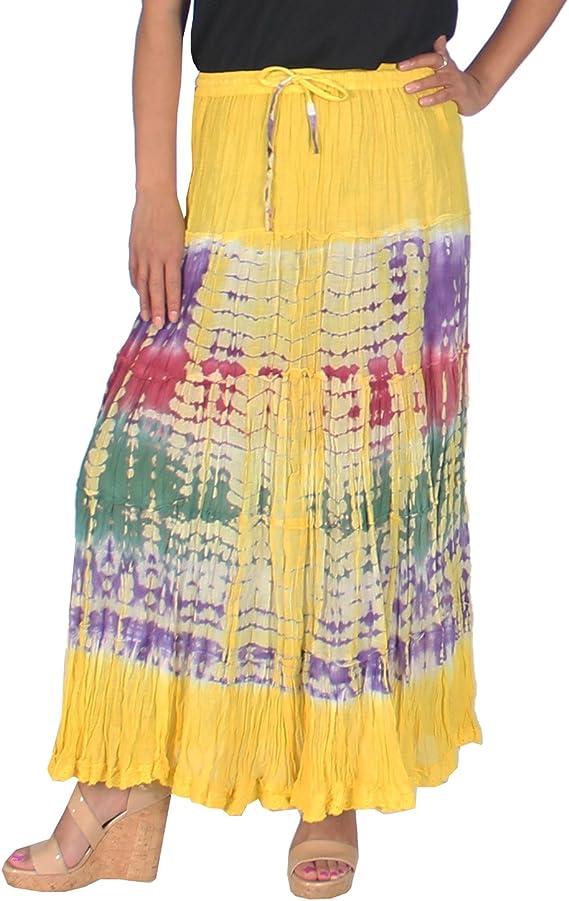 kayjaystyles las mujeres de hippie Boho Gypsy Tie-Dye falda larga ...