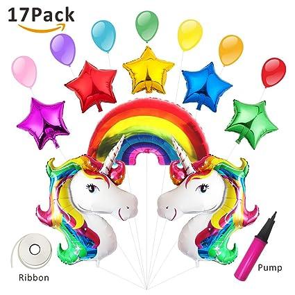 Unicorn Balloon Party Supplies Birthday Decorations Baby Shower Huge Rainbow Mylar Foil Balloons 17 PCS