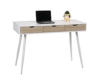 Eurosilla bruins bureau 110 x 50 x 75 cm blanc und eiche: amazon.de
