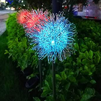 2pcs LED Luz Solar Dandelion Night Courtyard Césped Paisaje Luces Luz Jardín Al Aire Libre Camino Luces IP65 Control De Luz Decoración Lámparas De Estaca: Amazon.es: Iluminación