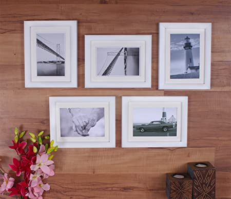 Art Street Decoralicious Set of 5 White Individual Wall Photo Frames - 5X7 Photo Frames at amazon