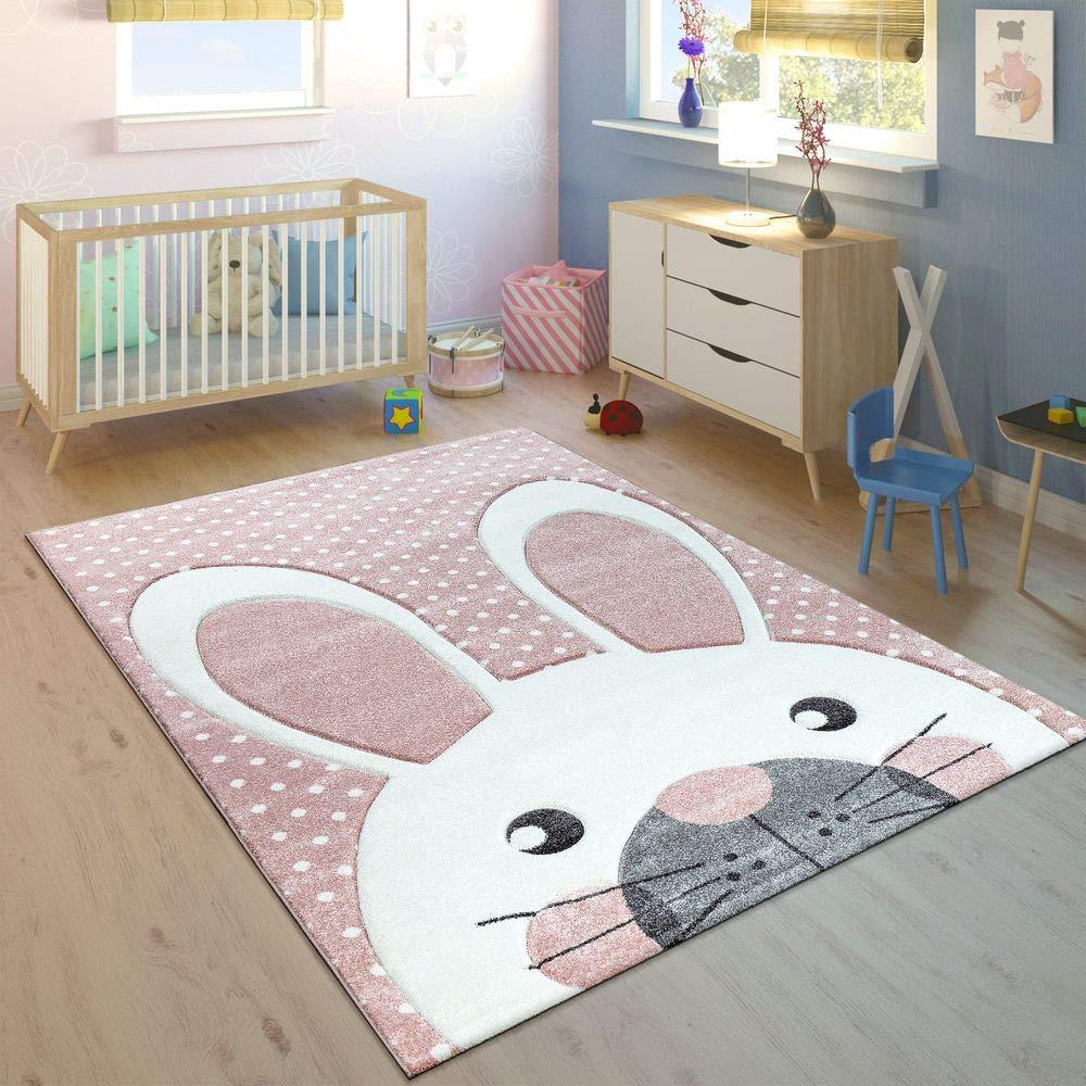 Paco Home Kinderteppich Kinderzimmer Konturenschnitt Niedlicher Hase In Creme Rosa, Grösse 200x290 cm