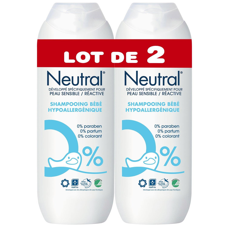 Neutral Shampooing Bébé Hypoallergénique 0% Peaux Sensibles et Réactives 250ml - Lot de 2 67530273