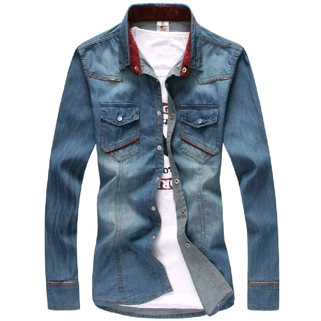 SportsX Men Classic Inner Contrast Denim Button Down Tshirt Top Shirt