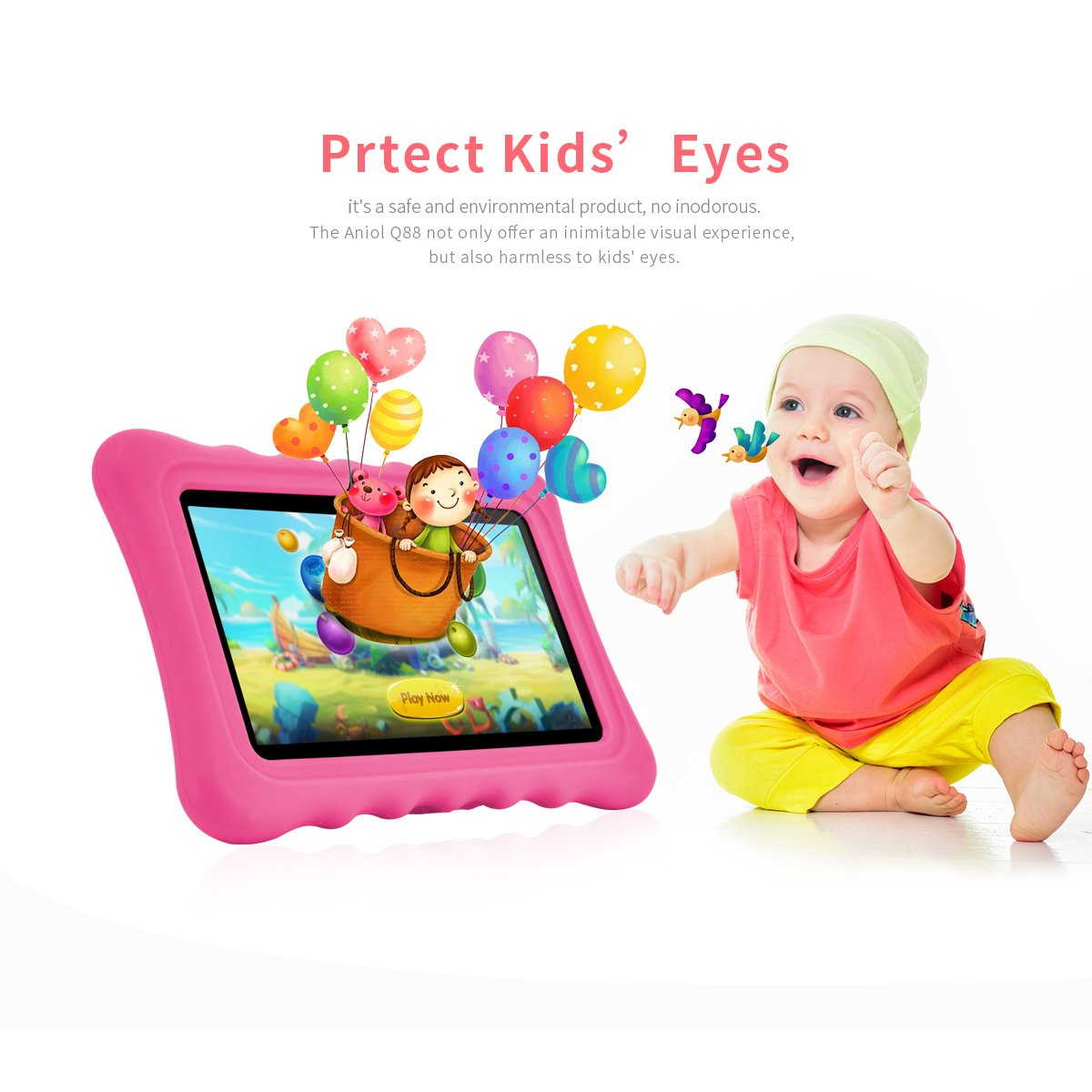Ainol Q88 Android 7.1 RK3126C Quad Core 1GB+16GB 0.3MP+0.3MP Cam WiFi 2800Ah Tablet PC--Pink by Ainol Q88 (Image #2)