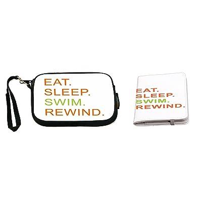Rikki Knight Eat Sleep Swim Rewind Orange & Green Design Neoprene Clutch Wristlet with Matching Passport Holder