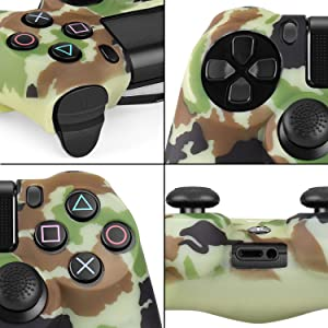 TNP PS4 / Slim / Pro Controller Skin Grip Cover Case Set - Protective Soft Silicone Gel Rubber Shell & Anti-slip Thumb Stick Caps for Sony PlayStation 4 Controller Gaming Gamepad (Camo Brown) (Color: Camo Brown)