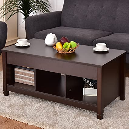 Amazoncom Costway Lift Top Coffee Table W Hidden Compartment And