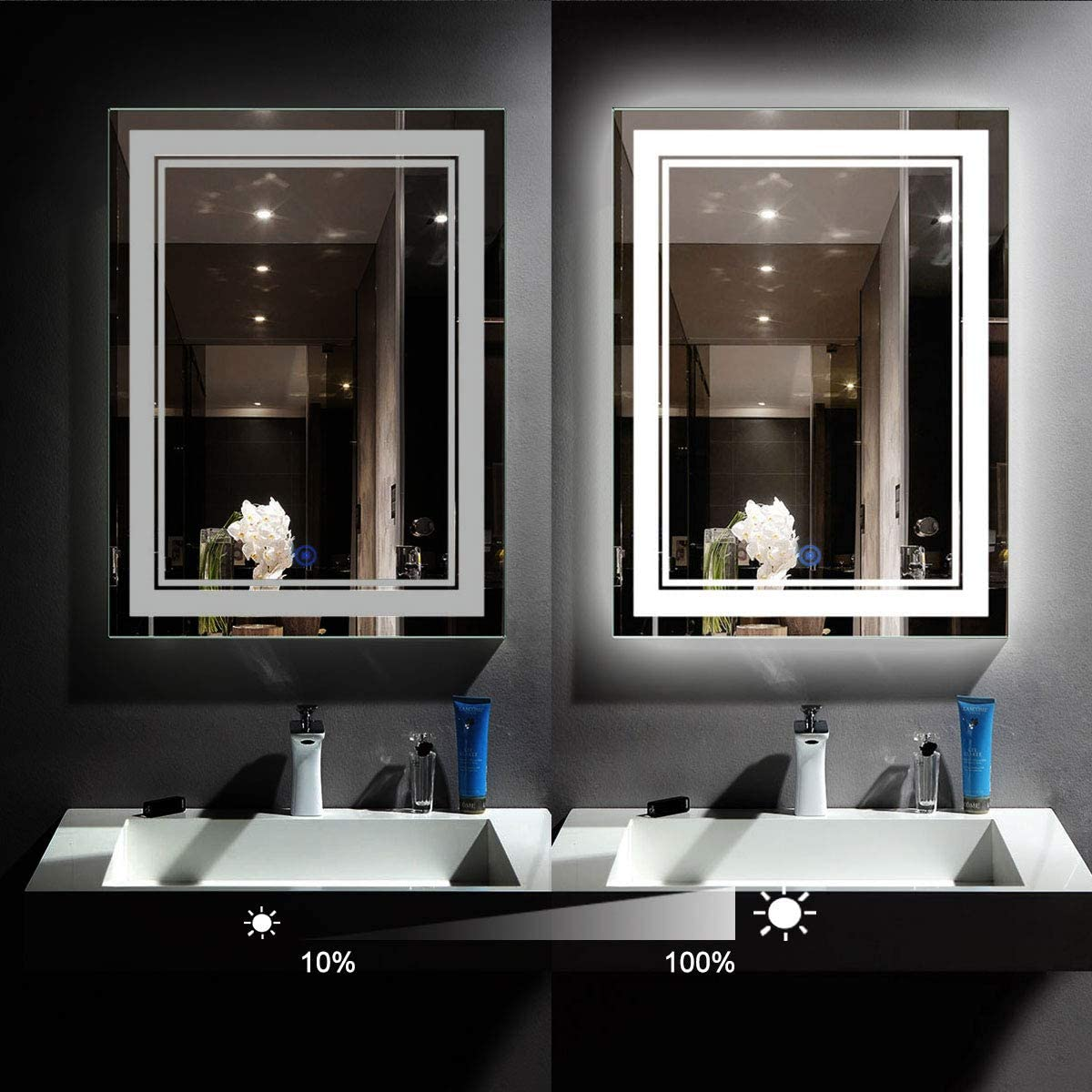 Amazon Com Vertical Led Lighted Vanity Bathroom Silvered Mirror With Touch Button Make Up Mirror Wall Bar Mirror Dk Od Ck160 Queen Home Kitchen