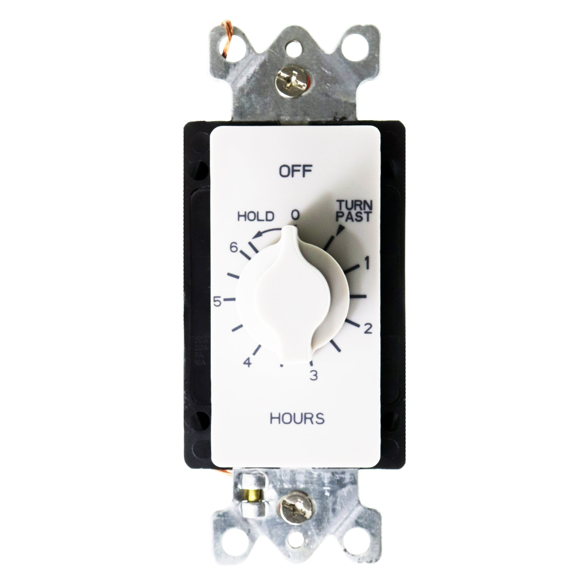 A Series Springwound Auto Off In-Wall Time Switch with Hold, 6 Hours Timer Length, White