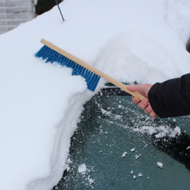 AUPROTEC Cepillo para Nieve de madera Escobilla para coche con mango largo de madera