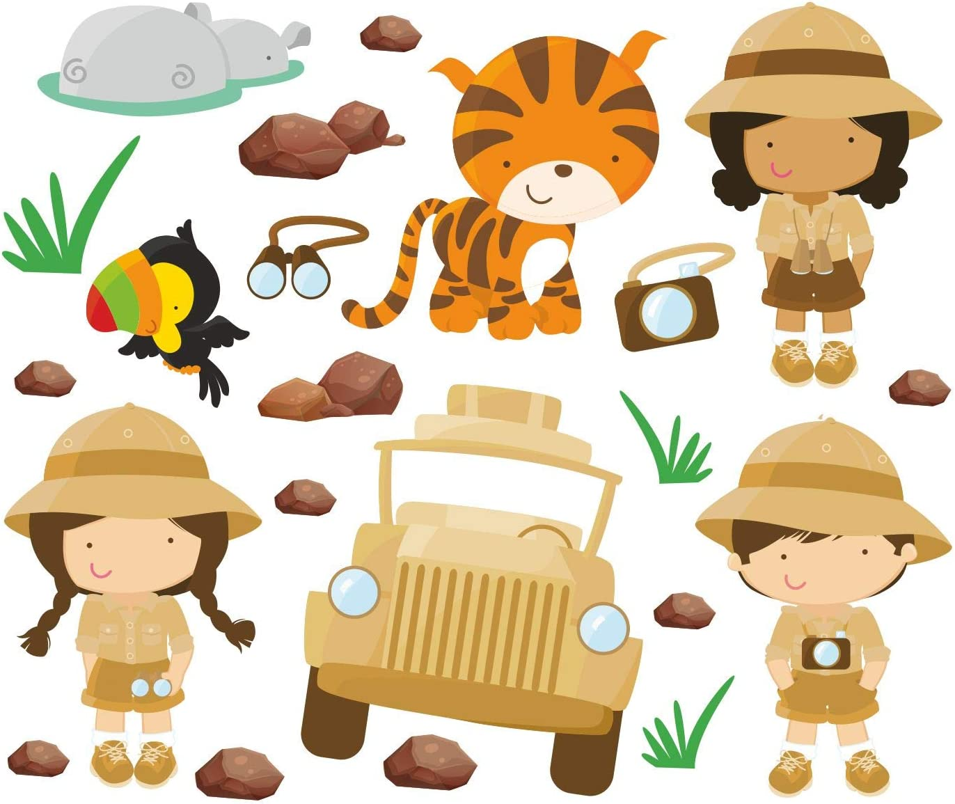 Safari niños niñas tigre hipopótamo, coche pegatinas para niños habitación pared pegatinas vinilo pared arte 928, 150cm / 42cm: Amazon.es: Bebé
