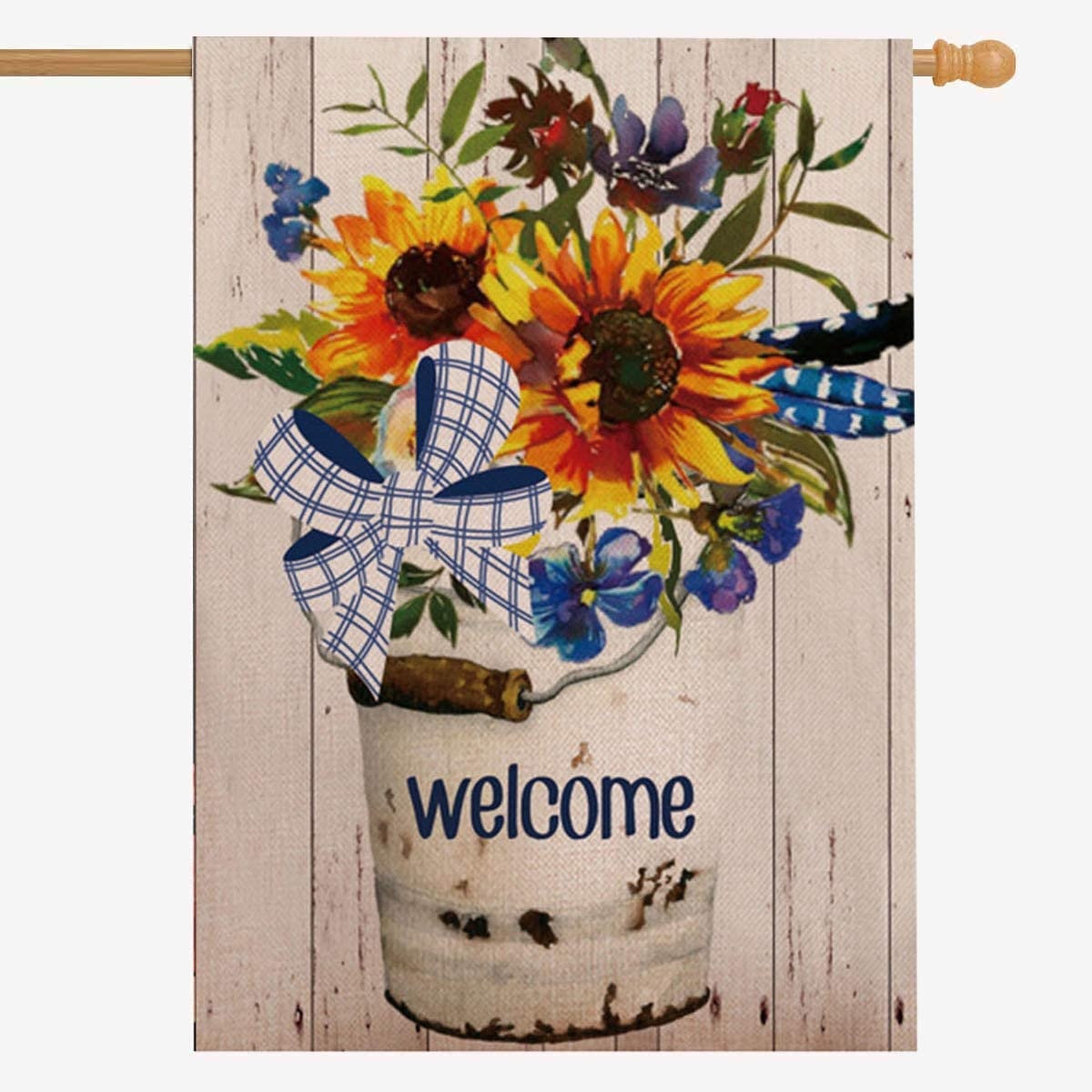 ZUEXT Welcome Home Sunflower Flower Basket Cotton Linen House Flag Vertical Double Sided, House Yard Flag Floral, Happiness House Yard Decorations 28 x 40 Inch for Housewarming Gift Wedding Gifts