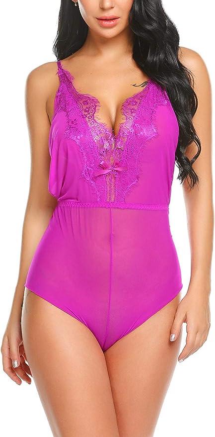 Avidlove Women Lingeries Halter Teddy Babydoll Lace Patchwork Sleepwear Jumpsuit