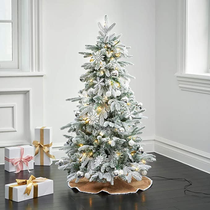 Flocked Pop Up Christmas Tree 4ft Collapsible For Easy Storage Prelit Pine With 100 Led Lights 50 Holiday Ornaments And Burlap Tree Skirt Included White And Silver Christmas Decorations Kitchen Dining Amazon Com