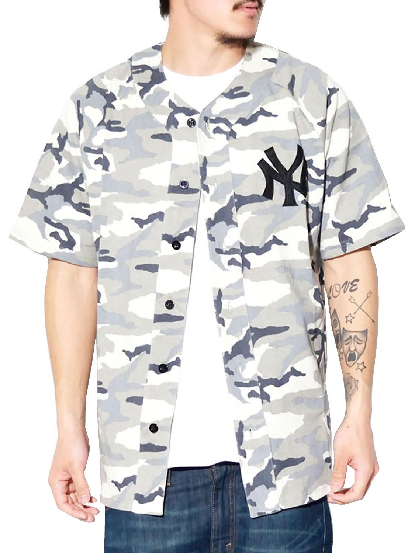 MAJESTIC マジェスティック ベースボールシャツ ストリート メンズ MM21-NYK-0022 b系 ストリート系 ファッション 大きいサイズ B06XV6HF9N M|グレー グレー M