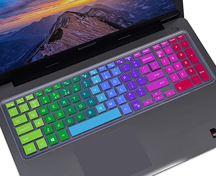 """Colorful Keyboard Cover for 15.6"""" Dell Inspiron 15 3000 5000 7000 Series,15.6"""" Dell G3 G5 G7 Series, 17.3"""" Dell Inspiron 17 5000 Series, 17.3"""" Dell G3 Series Keyboard Skin(with Numeric Keypad),Rainbow"""