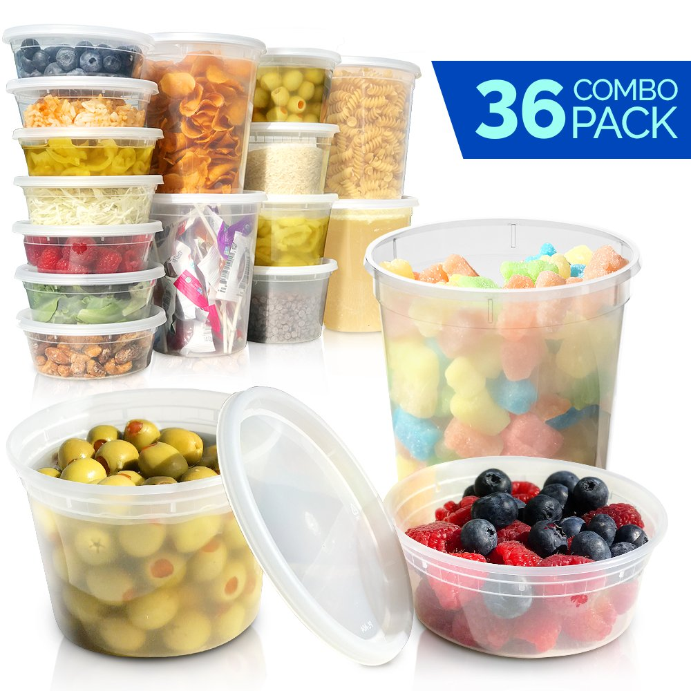 Plastic Food Storage Containers with Lids - Restaurant Deli Cups/Great for Slime, Party Supplies, Meal Prep and Portion Control - Leakproof and Microwave Safe Takeout Set - BPA Free (8, 16, 32 oz) Healthy Packers