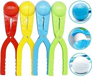 SupMLC Snowball Maker 4 Pack Snow Toys for Kids Snow Ball Fights Kids Winter Outdoor Toys Snow Ball Clip Snow Games for Kids