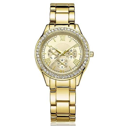 DWG Woman Watch, Bracelet Wrist Watch, Casual Gold Rhinestone Elegant Round Quartz Ladies Dress Watches