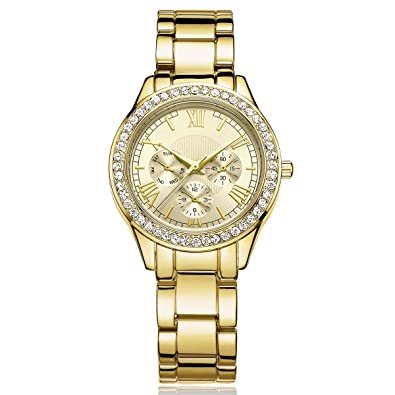 DWG Woman Watch, Bracelet Wrist Watch, Casual Gold Rhinestone Elegant Round Quartz Ladies Dress